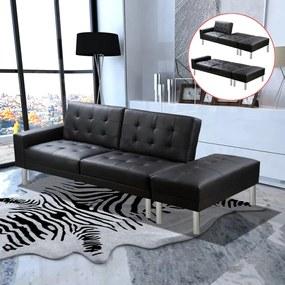 244304 vidaXL Sofá-cama em couro artificial preto