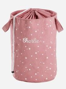 Cesto de roupa personalizável rosa medio estampado