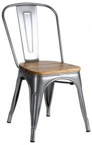 Cadeira Leeds Madeira Natural Cor: Cinzento Metalizado