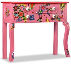 244597 vidaXL Mesa consola madeira mangueira maciça rosa pintada à mão