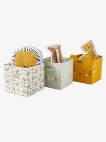 Lote de 3 caixas de arrumação, Hanói branco claro bicolor/multicolo