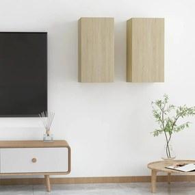 803333 vidaXL Móveis de TV 2 pcs 30,5x30x60 cm contraplacado carvalho sonoma