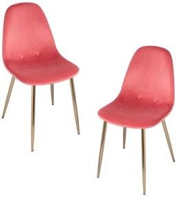 Pack 2 Cadeiras Teok Velvet Buttons Pernas Douradas