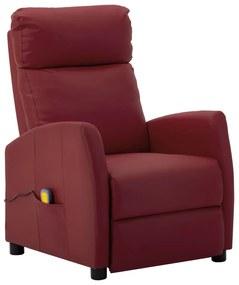 289727 vidaXL Poltrona massagens reclinável couro artificial vermelho tinto