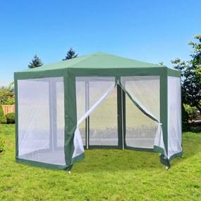Outsunny Pérgola de Jardim 390x250cm com rede mosquiteira Poliéster Verde
