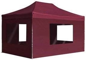 45499 vidaXL Tenda dobrável prof. c/ paredes alumínio 4,5x3m vermelho tinto