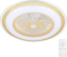 Brilagi - Iluminação LED com regulação e ventoinha RONDA LED/65W/230V dourada