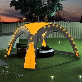 Tenda festas com LED e 4 paredes laterais 3,6x3,6x2,3 m amarelo