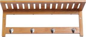 HOMCOM Cabide de parede de bambu Prateleira Toalheiro 4 Ganchos para Entrada Hall Banheiro Corredor Quarto 50x17x20 cm de Carga 5 kg