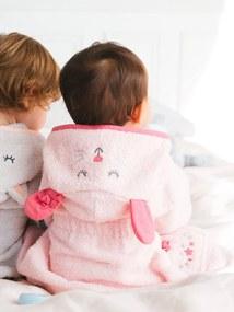 Roupão de banho personalizável, para bebé, Ratinho branco liso