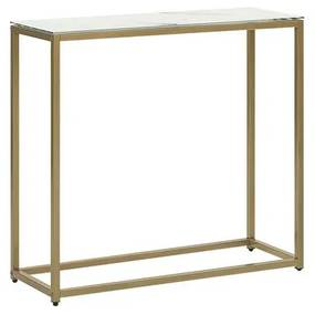 Consola de vidro com efeito de mármore branco com dourado DELANO
