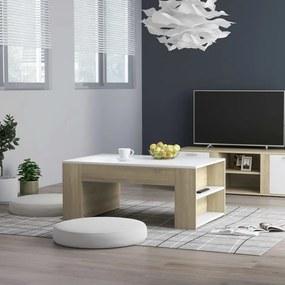 Mesa de centro 100x60x42 cm contraplacado cor branco/carvalho