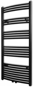 141918 vidaXL Aquecedor toalhas casa de banho curvo 600 x 1424 mm preto