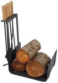 Suporte para Lenha DKD Home Decor Acessórios Lareira Aço (48 x 30 x 62 cm)