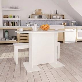 800243 vidaXL Mesa de jantar 110x60x75 cm contraplacado branco