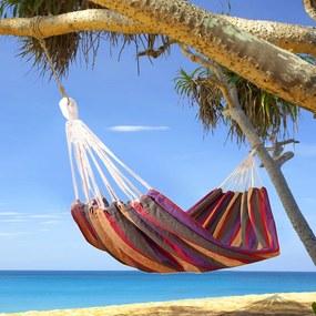 Outsunny rede para Pendurar na Praia Jardim Piscina ou Camping 210x150 cm 70% algodão multicolorido