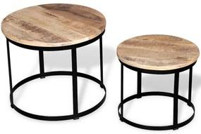244006 vidaXL Mesas centro redondas madeira mangueira rústica 2 pcs 40cm/50cm