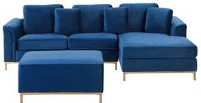 Sofá de canto à esquerda e repousa-pes em veludo azul escuro OSLO