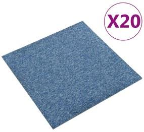 147316 vidaXL Ladrilhos carpete para pisos 20 pcs 5 m² 50x50 cm azul