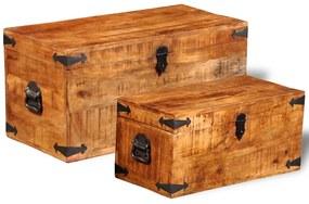 241634 vidaXL Conjunto de 2 cofres armazenamento de madeira de mango