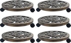 Suportes com rodas para plantas 6 pcs 38 cm plástico bronze