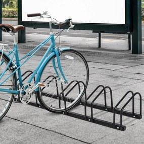 HOMCOM Estacionamento para 5 Bicicletas Suporte de Aço para Estacionar Bicicletas no chão para Interior e Exterior 130x33x27cm Preto
