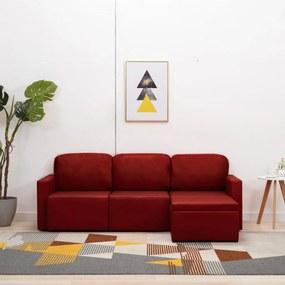 288797 vidaXL Sofá-cama modular de 3 lugares couro artificial vermelho tinto