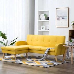 Sofá em tecido c/ forma de L 186x136x79 cm amarelo