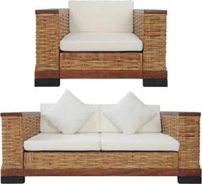 2 pcs conjunto de sofás com almofadões vime natural castanho