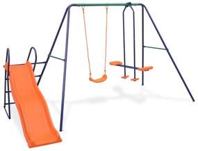 91359 vidaXL Conjunto de baloiços com escorrega e 3 assentos laranja