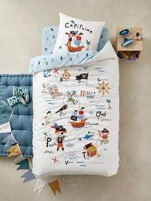 Conjunto capa de edredon + fronha de almofada para criança, tema P de Pirata branco claro liso com motivo
