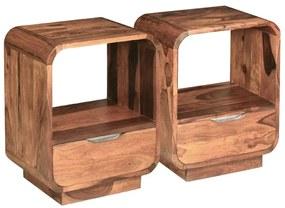 243953 vidaXL Mesa cabeceira gaveta 2 pcs madeira sheesham maciça 40x30x50 cm