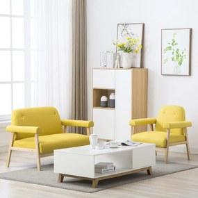 275216 vidaXL Conjunto de sofás para 3 pessoas 2 pcs tecido amarelo