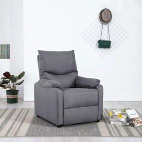 Poltrona de TV reclinável tecido cinzento-claro