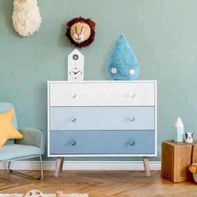 Cómoda infantil com 3 gavetas Cómoda com pernas para roupas ou brinquedos cor Azul