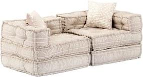 Sofá-cama modular de 2 lugares tecido bege