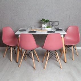 Conjunto Mesa Tower Retangular 120 x 80 cm Branca e Pack 4 Cadeiras Tower Basic