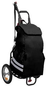 92448 vidaXL Reboque para bicicleta com saco de compras preto