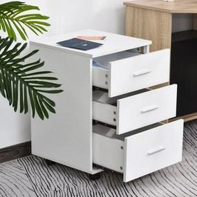 Vinsetto Armário de escritório com 3 gavetas Rodas freio Fechadura Chaves Incluídas 40x41,5x61,5 cm Branco