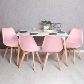Conjunto Mesa Tower Retangular 120 x 80 cm Branca e Pack 4 Cadeiras Synk Basic