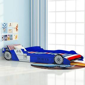 244465 vidaXL Cama carro de corrida para crianças 90x200 cm azul