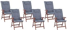 Conjunto de 6 cadeiras de jardim com almofadas azuis TOSCANA