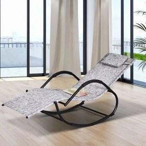 Outsunny Espreguiçadeira de jardim Cadeira de balanço com apoio de braços e função de balanço 160x61x79 cm cinza