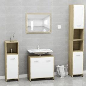 802584 vidaXL Conjunto móveis casa de banho contrapl. branco/carv. sonoma