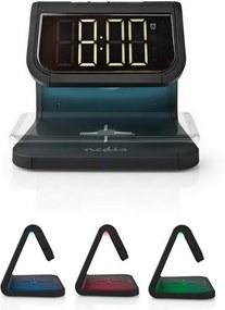 Nedis WCACQ10W1BK - Relógio despertador com carregador sem fios LED/10W/230V preto