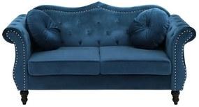 Sofá de 2 lugares em veludo azul cobalto SKIEN