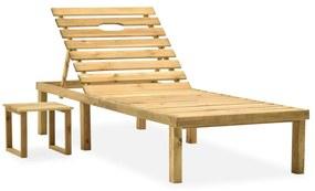 315395 vidaXL Espreguiçadeira de jardim com mesa madeira de pinho impregnada