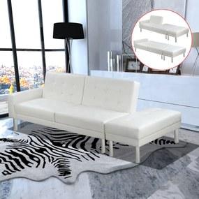 Sofá-cama em couro artificial branco