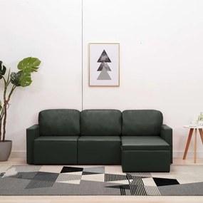 Sofá-cama modular de 3 lugares couro artificial cinzento