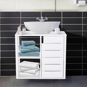 Kleankin Armário de Banheiro Baixo com Prateleiras e Armário com Porta 60x30x54 cm Branco